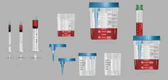 Modern realistisk behållare för vakuum 3d med locket och visare för blo royaltyfri illustrationer