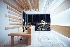 Modern reception area with night city view and windows in floor Royalty Free Stock Images