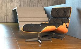 Modern recliner. Classic lounge chair in concrete room Royalty Free Stock Photos