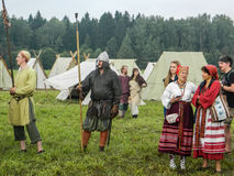 A modern reconstruction of the ancient battle of the Slavic tribes in the fifth festival of historical clubs in Zhukovsky district. Of Kaluga region of Russia royalty free stock photo