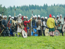 A modern reconstruction of the ancient battle of the Slavic tribes in the fifth festival of historical clubs in Zhukovsky district Stock Images
