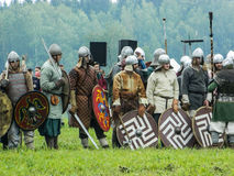 A modern reconstruction of the ancient battle of the Slavic tribes in the fifth festival of historical clubs in Zhukovsky district Stock Photography