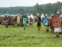 A modern reconstruction of the ancient battle of the Slavic tribes in the fifth festival of historical clubs in Zhukovsky district Royalty Free Stock Photography