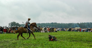 A modern reconstruction of the ancient battle of the Slavic tribes in the fifth festival of historical clubs in Zhukovsky district Stock Image