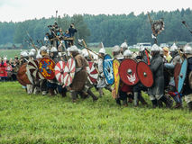 A modern reconstruction of the ancient battle of the Slavic tribes in the fifth festival of historical clubs in Zhukovsky district Stock Photo