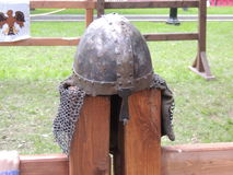 Modern reconstruction of the Viking Helmet. In Moscow historical festival Russia Stock Photo