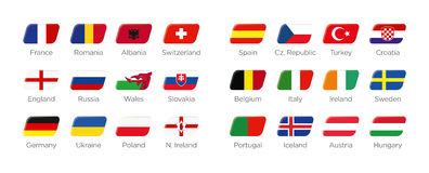 Modern rectangle icon symbols of the participating countries to the final soccer tournament of Europe in france 2016. Icons of participating countries to the Stock Photography