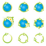 Modern recycle green icons set Royalty Free Stock Photography