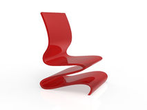 Modern Red Acrylic Curved Chair Stock Photo