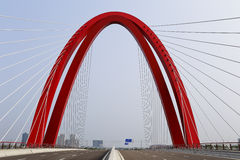 The red arch bridge, radial cables Royalty Free Stock Image