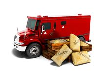 Modern red armored truck for carrying money in bags 3d render on royalty free illustration