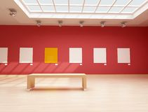 Modern red art gallery Stock Image