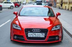Modern red Audi car. Russia, Saint-Petersburg, June 2017. Stock Photography