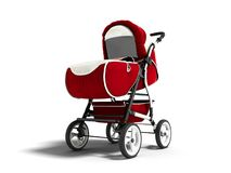 Modern red baby carriage for any weather with white inserts 3d r vector illustration