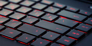 Modern red backlit keyboard, concept Stock Photos