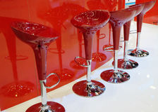 Modern red bar stools Royalty Free Stock Photography