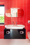 Modern red bathroom Royalty Free Stock Image