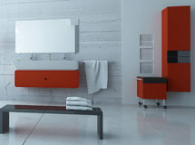 Modern red bathroom interior Royalty Free Stock Photo
