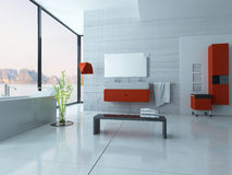 Modern red bathroom interior Stock Images