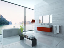 Modern red bathroom interior Royalty Free Stock Image