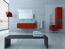 Modern red bathroom interior Royalty Free Stock Photos