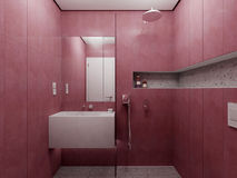 Modern red bathroom view Royalty Free Stock Photography
