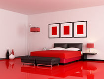 Modern red and black bedroom Royalty Free Stock Images