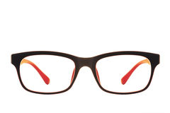 Modern red and black fashion eye glasses isolated. On white background royalty free stock photos