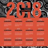 2018 Modern Red And Black Graphic Printable Calendar Starts Sunday Stock Photos