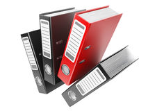 Modern red and black office folders with documents Royalty Free Stock Image