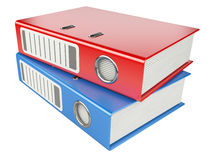 Modern red and blue office folders with documents Stock Image