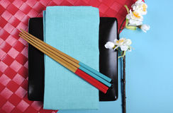 Modern red and blue theme Japanese Oriental Table Place Setting Royalty Free Stock Photo