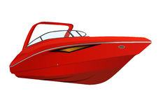 Modern red boat. stock photos