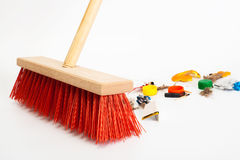 Modern red broom Royalty Free Stock Images