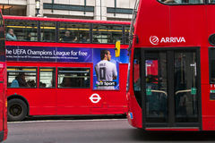 Modern Red Buses in London Stock Photography