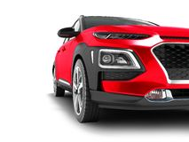 Modern red car crossover for travel with black insets in front 3 stock illustration