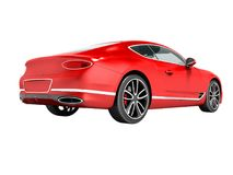 Modern red car sedan business class for trip to work behind 3d r vector illustration