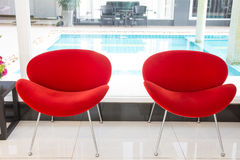 Modern red chair Royalty Free Stock Photos