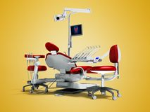 Modern red dental chair and borax with light and monitor for wor royalty free illustration