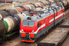 Modern red diesel electric locomotive Royalty Free Stock Images