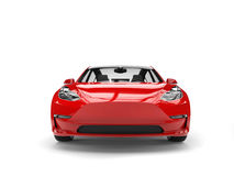 Modern red electric family car - front view Royalty Free Stock Image