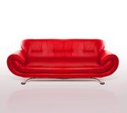 modern red för soffaläder Fotografering för Bildbyråer