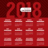 2018 Modern Red Graphic Printable Calendar Starts Sunday Stock Image