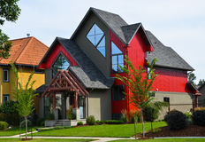 Modern Red House Building Royalty Free Stock Photography