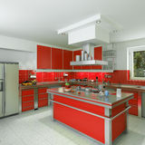 Modern red kitchen Royalty Free Stock Photos