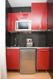 Modern red kitchen Royalty Free Stock Photography