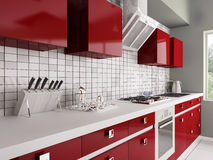 Modern red kitchen interior 3d Royalty Free Stock Photo