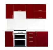Modern red kitchen interior Stock Photo