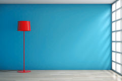 Modern Red Lamp against a wall Royalty Free Stock Images