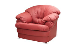 Modern red leather chair  on white Royalty Free Stock Photo